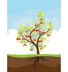 Stylized cherry tree vector