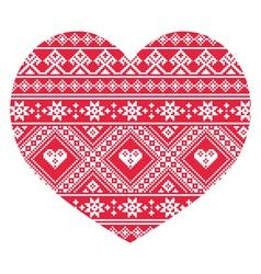 Traditional ukrainian red folk art heart pattern vector