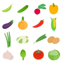 Vegetables icons set isometric 3d style vector image vector image