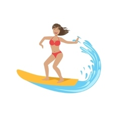 Woman in red bikini riding a wave on surf vector
