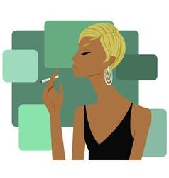 Woman smoking a cigarette vector