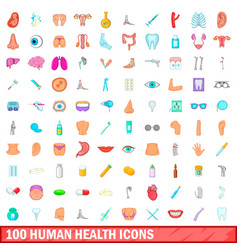 100 human health icons set cartoon style vector
