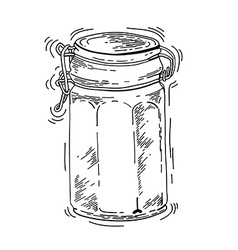 Hand drawn glass jar vector