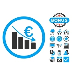 Euro recession flat icon with bonus vector