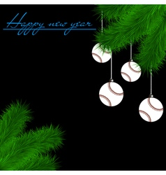 Baseball balls on Christmas tree branch vector image