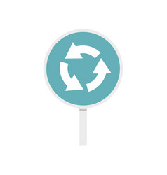 blue round road sign with arrows icon flat style vector image