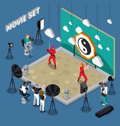 movie set isometric vector image