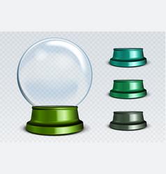 empty snow globe set white transparent glass vector image