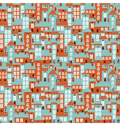 Retro city houses seamless colorful pattern vector