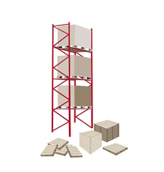 Cargo shelf in a warehouse with crates vector