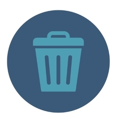 Trash can flat cyan and blue colors round button vector