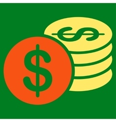 Dollar coins icon from business bicolor set vector