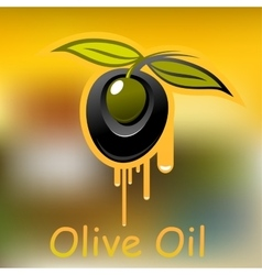 Olive fruit and dripping olive oil vector