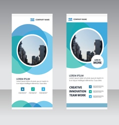 Blue circle business roll up banner template set vector