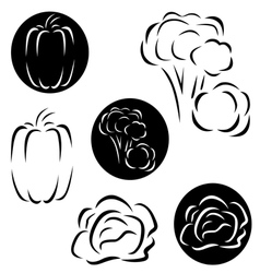 A small set of vegetables logos vector