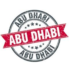 Abu dhabi red round grunge vintage ribbon stamp vector
