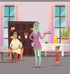 Arabic woman and family background vector