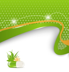 background for medical theme with green pill vector image