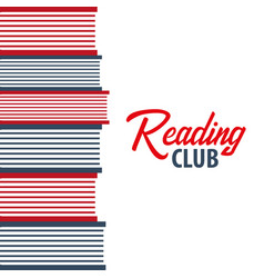 Banner reading club stack of books vector