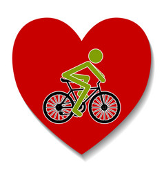 bicycle in the heart vector image vector image