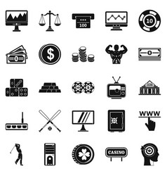 Big bet icons set simple style vector