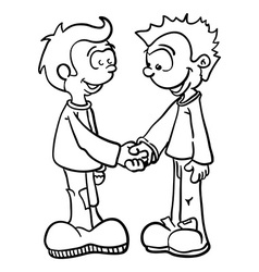 Black and white two boys shaking hands vector