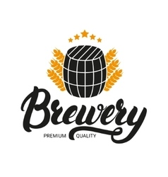 Brewery lettering logo label badge with sign of vector image