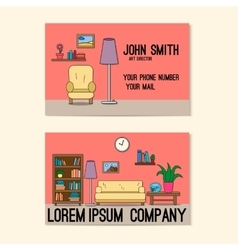 Business card template with design of sitting room vector image