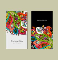 Business cards design floral background vector