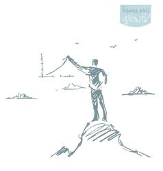 Businessman increasing graph sketch vector