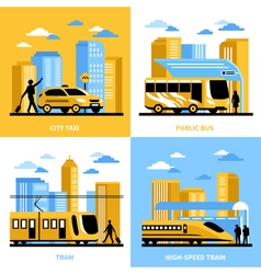 City Transportation 2x2 Design Concept vector image vector image