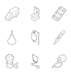 Doctoral icons set outline style vector