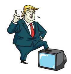 donald trump with television cartoon caricature vector image vector image