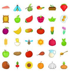 Foodstuff icons set cartoon style vector