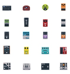 guitar effects icons set vector image