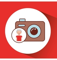 Old man fathers day gift camera vector