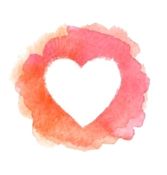Pink watercolor painted heart shape frame vector image vector image