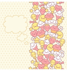 Seamless kawaii pattern with cute cakes vector image
