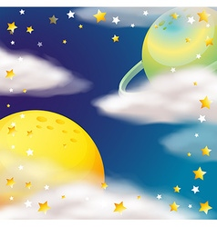 Space scene with planets and stars vector