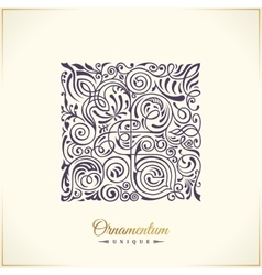 Square calligraphic royal emblem floral vector