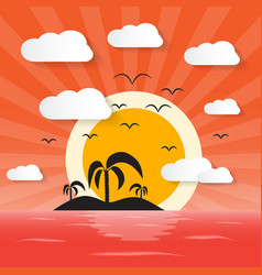 Sunset Ocean with Island and Palm vector image vector image