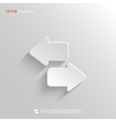 Synchronization icon - white app button vector image