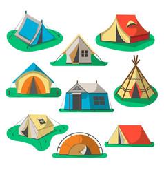 tourist tent icon set vector image vector image