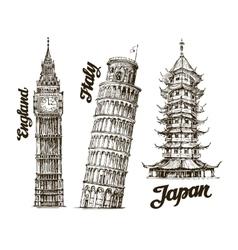 Travel Hand drawn sketch England Italy Japan vector image vector image