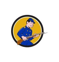 Union army soldier bayonet rifle circle cartoon vector
