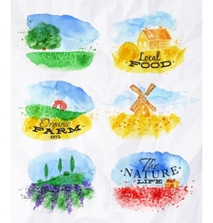 Watercolor landscapes symbols vector