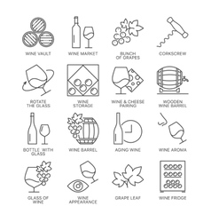wine icons set isolated on white background vector image vector image