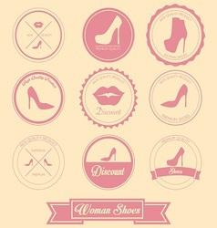 Woman shoes label design vector