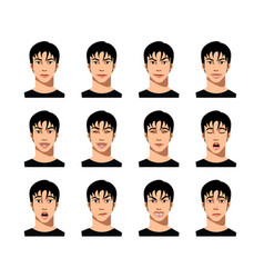 Young male face expression set vector