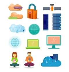 Set of network technologies icons in flat design vector